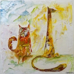 Judith Harrison. Dog & Cat. Mixed Media. £35