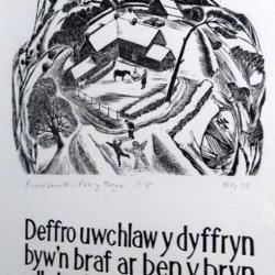 Bob Guy. Snowbound. Wood Engraving ; Text by Robin Hughes (From Cofleidio'r Bryniau - Embrace the Hills portfolio). NFS
